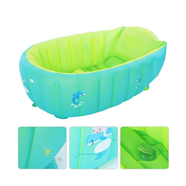 Inflatable Baby Bathtub Foldable Shower Basin for Newborn Foldable Travel Air Shower Basin Seat Baths with Hand Pump 3