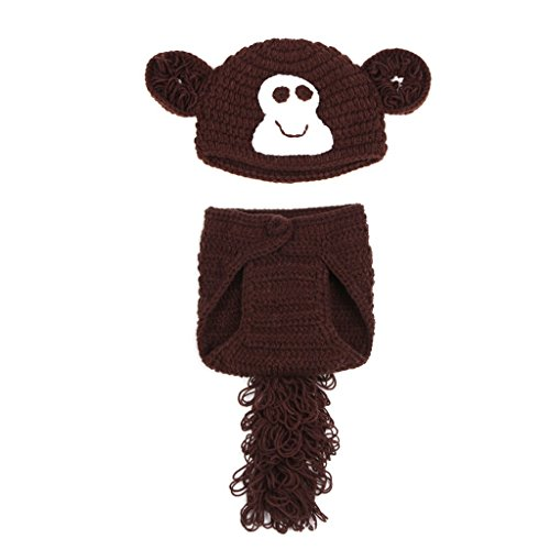 Kinder Baby Strick Mütze Affe Fotoshooting Neugeborene Muster Design Hut Kostüm (Baby Muster Affen Kostüm)
