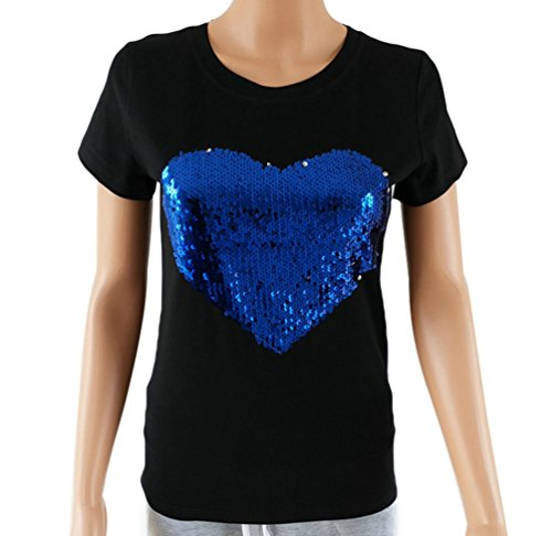 WanYang Damen Casual Stylische Kurzarm Blusen Rundhals T-shirt Herz Pailletten Glitzer Hemden Tops Schwarz 01