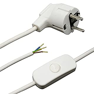 Zuleitung mit Stecker und Schalter 1,50 Meter Weiss Anschlusskabel Netzkabel Stromkabel mit Schnurzwischenschalter und Winkelstecker 3x0,75qmm 250V W Länge 1500mm