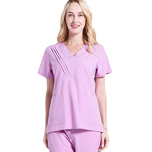 Rosa Medical Nurse Scrubs (Adult Unisex Medical Doktor Nurse Scrub Sets Cosplay Kostüm Uniform Outfits für Ärzte & Wissenschaftler Friseure,Kosmetikerinnen,Nagelstangen,Massagetherapeuten,Rosa,XL)