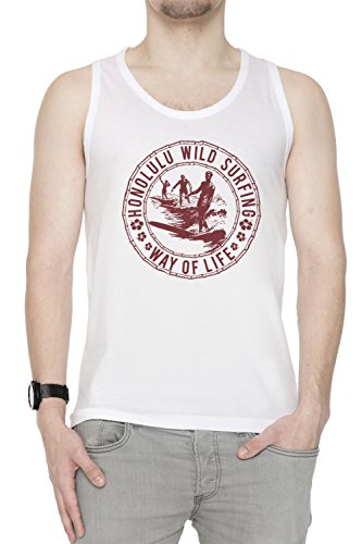 Honolulu Wild Surfing Uomo Canotta T-shirt Bianco Cotone Girocollo White Men's Tank T-shirt