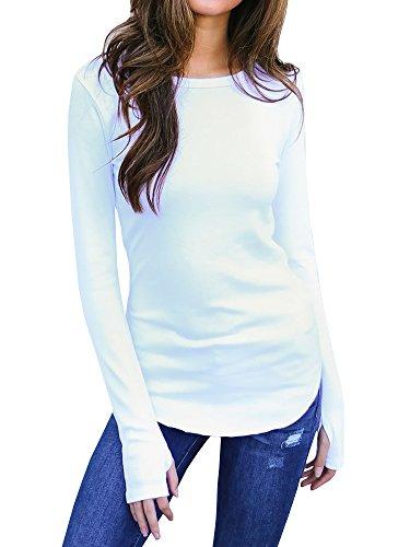 Outgobuy Frauen Casual Langarm Daumenloch Solide Tunika Tops Schlank Bluse T-Shirt Activewear (L, Weiß) (Damen-activewear)