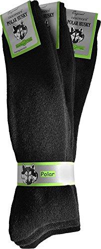normani 3 Paar Thermo-Kniestrümpfe oder Socken von Polar Husky® mit Vollplüsch und Schafwolle Sehr warm! Perfekt für Stiefel geeignet Nie Wieder kalte Füße! Farbe Schwarz Größe 43/46 -