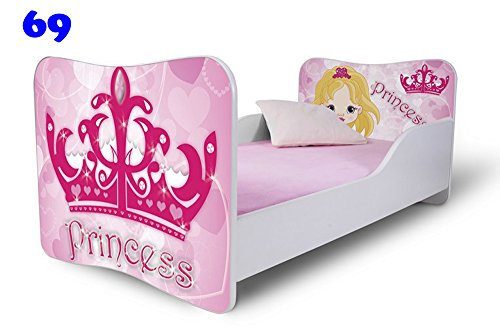 Babybett Kinderbett Bett Schlafzimmer Kindermöbel Spielbett Nobiko Butterfly 160x80 or 140x70 Matratze Lattenrost (140x70, 69)
