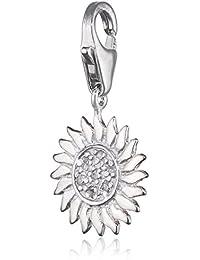 Plata de ley 925 SilberDream Charm sol blanco colgante para pulsera cadena pendientes FC223W