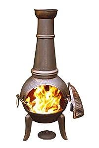Gardeco 124cm Granada Cast Iron Chimenea Tall Bronze Effect Finish Steel Funnel