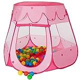 MC Star Tienda Plegable para Niños Pop-up Casa de Juego Tienda de Campaña Infantil Juguetes Casa y Piscina para Interiores y Exteriores con 100 Ocean Balls (Rosa, Azul)