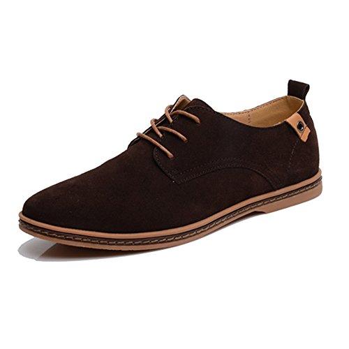SITAILE Homme Chaussures de ville homme cuir Suede Oxfords Mode Confort Classique Sneakers Chaussures Brun