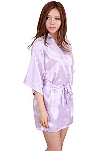 Honeystore Damen Morgenmantel glatte Satin Nachtwäsche angenehmer Bademantel Kimono Negligee Seidenrobe locker weicher Schlafanzug Glanz Look kurz Lila M (Schwarze Badeanzug Talar)