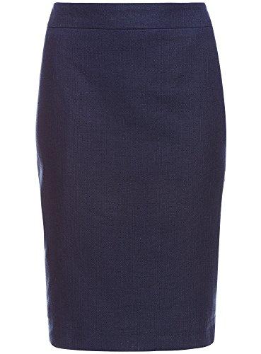 oodji Collection Damen Klassischer Bleistiftrock Blau (7900N)