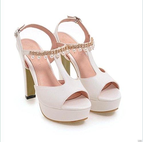Sproud Wasserdichte Plattform High Heels Sandaletten Women'S Heel 2017 Neue Sommer Sexy Schuhe Mit Rollrand 38 Weiß