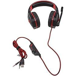 Ebdcom G4000stéréo Casque de Jeu Casque avec Micro lumière LED stéréo Surround Arceau Voice contrôle pour Ordinateur PC Gamer