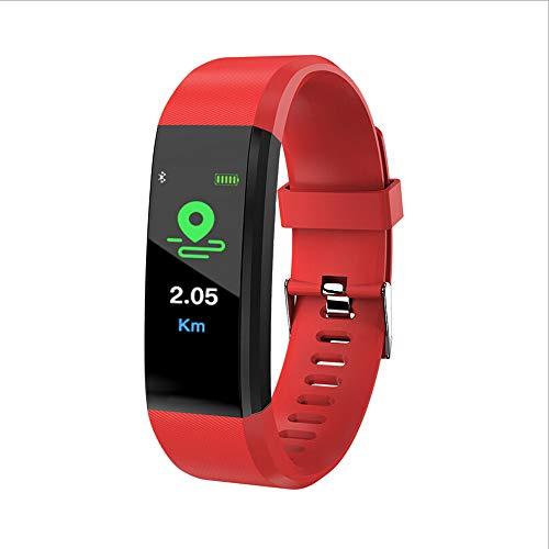 Mamun 2019 Nuevo Fitness Tracker Color Screen Heart Rate Monitor Blood Presure Smart Bracelet,Cámara remota, monitorización del sueño (Rojo)