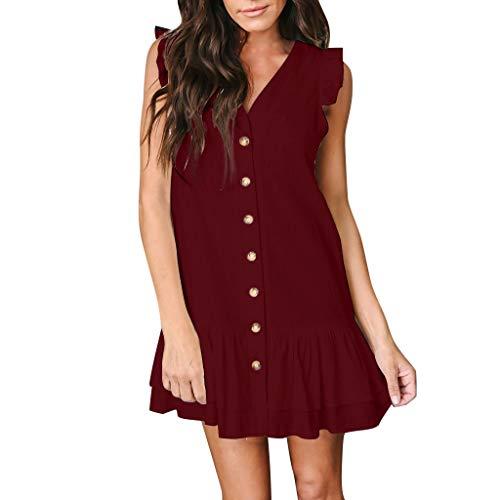 CUTUDE Damen Kleider Röcke Kurzarm Sommerkleider V-Ausschnitt Blütenblatt Ärmellos Taste Rüschen Lose T-Shirt Minikleid (Wein, Medium)