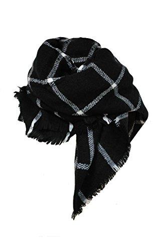 HIMONE Damen Oversized Herbst Winter Schal klassische Kariert Schal lange weich Wraps grosse Schal (Schwarz)