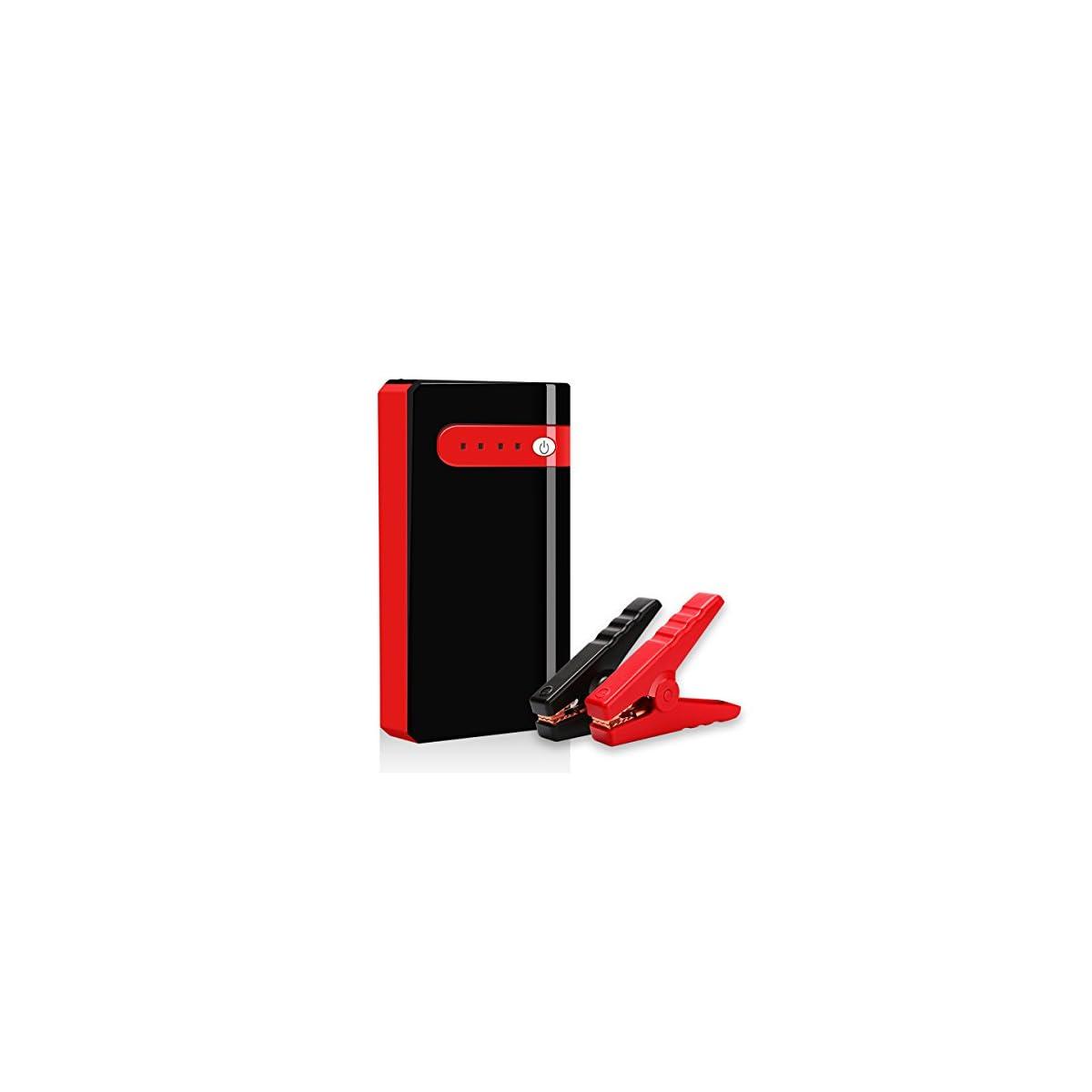 41CYBqWsgmL. SS1200  - Arrancador de Coche Portatil 10000mAh 500A Jump Starter Power Bank Arrancador de Moto Arranque para 12V 2.5L Gasolina Batería Externa Recargable, LED Flashlight, Multifunción con Inteligente Cables