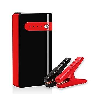 Arrancador de Coche Portatil 10000mAh 500A Jump Starter Power Bank Arrancador de Moto Arranque para 12V 2.5L Gasolina Batería Externa Recargable, LED Flashlight, Multifunción con Inteligente Cables