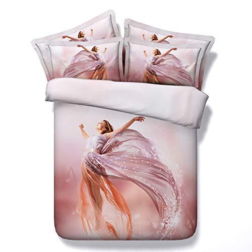 Ruixinshi 3pcs Bettbezug Sets, HD Digital 3D Polyster Reaktivdruck Bettwäsche-Set,Romantisch, Zweibettzimmer Bettwäsche (Bettwäsche Für Kinder, Zweibettzimmer)