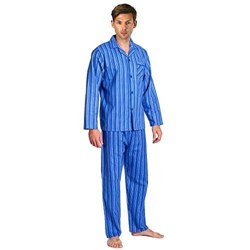 Mens, Die Traditionelle Flanell PJ Pyjama Set Nachtbekleidung PJ Schlafanzüge Sets Herren Baumwolle - Blau Streifen (139), Medium (Herren Pj Baumwolle)