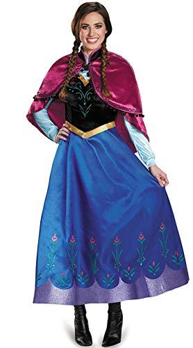 Damen Kostüm Anna Frozen - ZQZP TOP Damen Kostüm Für Karneval Eiskönigin Prinzessin Kleid Anna Blau Cosplay Kleid mit Umhang Rosa Size (EU34-EU42)
