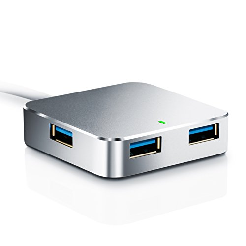 CSL - USB 3.0 HUB 4 Port | fino a 5Gb/s Super Speed | distributore 4 Port | PC e MAC | Laptop / Tablet | Plug & Play | argento