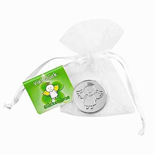 EnerChrom Schutzengel-Glücksmünze – Glücksbringer Farbe Silber – Talisman-Geschenk