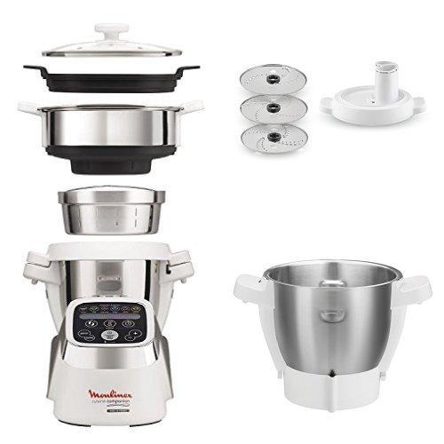 Moulinex Cuisine Companion Robot Multifunzione + XF3831 Taglia Verdura + XF384B Vaporiera + XF380E Seconda Bowl