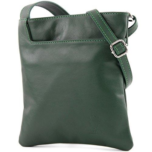 modamoda de - ital. Ledertasche Umhängetasche Schultertasche Tasche Klein Nappaleder T162, Präzise Farbe:Flaschengrün (Leder Italienische Handtasche)