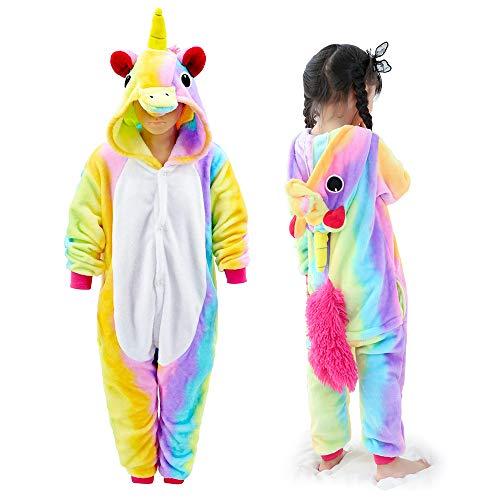 MMTX Einhorn Kostüm Onesies Jumpsuit Schlafanzug, Flanell Tier Fasching Karneval Nachtwäsche Kapuze, Fancy Ganzkörperanzug für Playsuit Halloween Kostüm Kleidung, Weihnachten ()