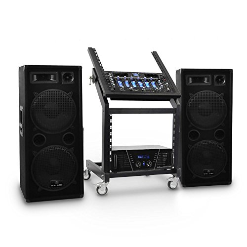 DJ PA Set Rack Star Series Mars Flash • DJ-PA-Set • PA Komplett-Set • DJ-Anlage • 2000 Watt • Bluetooth • bis 400 Personen • inkl. PA-Verstärker, 4-Kanal-Mixer, PA-Boxen, Rack und Kabelsatz • schwarz