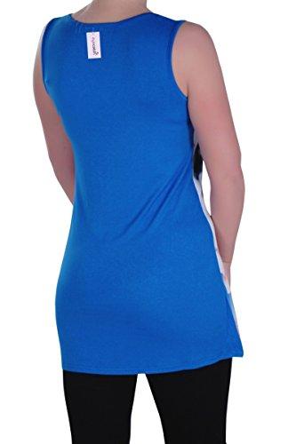 Eyecatch - Kitty Aux Femmes Asymétrique Camisole Dames Amérique Chaton Floral Longue Gilet Tops Design 5 Royal Bleu