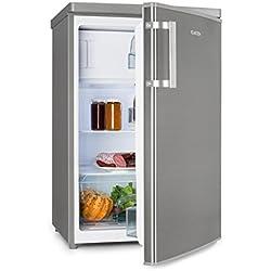 Klarstein CoolZone 120 Eco - Combi réfrigérateur-congélateur, Réfrigérateur 103L, Congélateur 15L, Etagère en verre, Compartiment à légumes, 3 compartiments de porte, acier inoxydable, argent