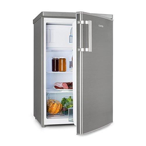 Klarstein CoolZone 120 Eco • Kühl-Gefrierkombination • 103 L Kühlschrank • 15 L Gefrierschrank • platzsparend • 41 db • Glasablage • Gemüsefach • 3 Türfächer • Edelstahl • silber