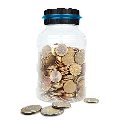 Weixinbuy Huchas per EUR Atimier Automático Moneda Contando Caja de Dinero con Pantalla LCD para Niños y Adultos