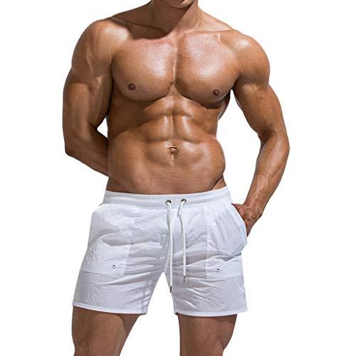 MONDHAUS Badehose für Herren Jungen Badeshorts für Männer Kurz Vielfarbig Schnelltrocknend Beachshorts Boardshorts Strand Shorts Trainingshose mit Mesh-Futter und Verstellbarem Tunnelzug,Weiß,M -