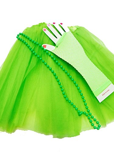 Ladies Green Tutu Skirt with 80s Accessories. Standard Size with elasticated waist