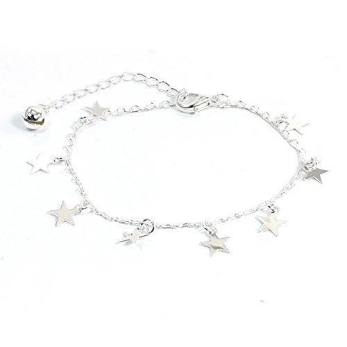 sourcingmap® 5 -puntato stella pendente aragosta aggancio argentato catena braccialetto