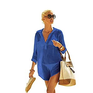 Blusa de Algodón XL para Mujer, Camisa XL Playera, Blusa Media Manga para Playa o Piscina, Camisa Grande Mujer (CP-CT)