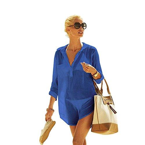 Copricostume in cotone da donna copribikini con scollo a v sexy pizzo in cotone sui costume da bagno (cp-ct) (royal blue)