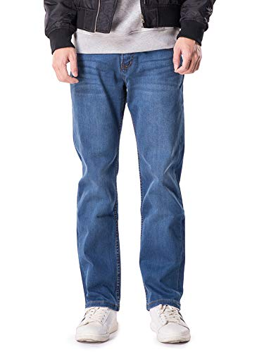 OCHENTA Mens Stretch Breathble Casual Jeans Pants Mid Blue-42