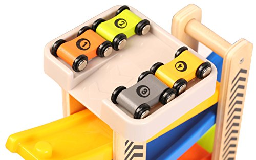 TOWO Wooden Car Park Zig Zag Car Slide-with 4 wooden Cars & Roof Top Car Park Playsets-click clack track Wooden Car Toys for Toddlers -Racing Car Ramp toys for kids Boys Girls 1 2 3 4