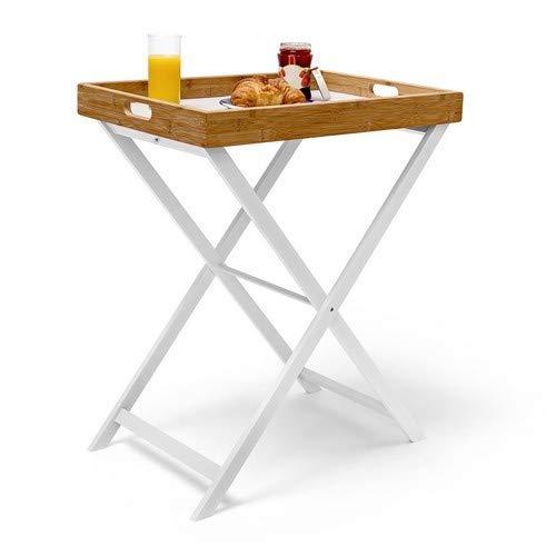 Relaxdays Tabletttisch Bambus H x B x T: ca. 72 x 60 x 40 cm Beistelltisch mit Tablett als Klapptisch und Serviertablett aus Bambus und Holz zum Servieren beim Frühstücken als Tablettständer, weiß -