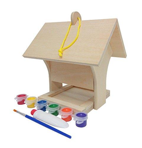 Funmate KD mangeoire construire et peindre votre propre deluxe mangeoire à oiseaux du bois w / pendus