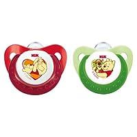 NUK 10175046 Silikon Beruhigungssauger (Schnuller) Disney Winnie Trendline mit Ring, Größe 1 (0-6 Monate), BPA-frei, 2 Stück, grün/rot