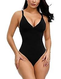 FeelinGirl Faja Braga Reductora Mujer Pantalones Moldeadores con Tirantes Ajustables y Desmontables Shapewear Adelgazante de Encaje Negro L/ES 42-44