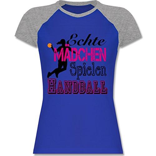 Handball - Echte Mädchen Spielen Handball - M - Royalblau/Grau meliert - L195 - zweifarbiges Baseballshirt / Raglan T-Shirt für Damen