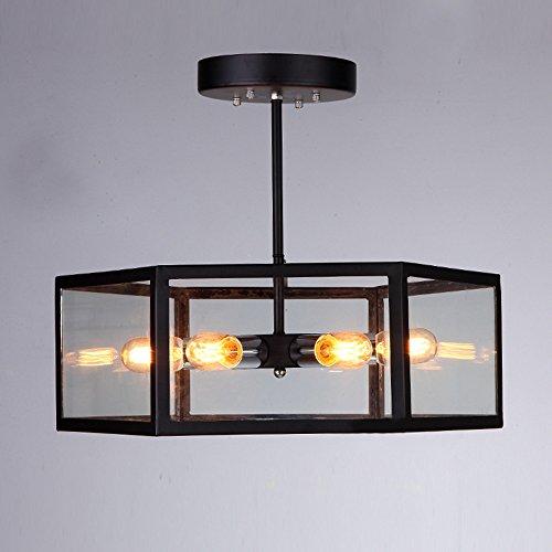 NIUYAO Semi-encastré Plafonnier Abat-jour Métal&Verre Cage Rétro Industrielle Lustre Suspension 6 Lampe-Noir