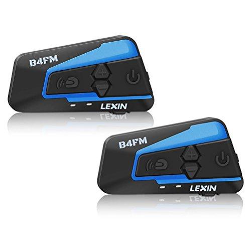 LEXIN 2x LX-B4FM Interfono moto con Radio FM,Interfono casco gamma fino a 1600m, Interfono moto bluetooth con cancellazione avanzata del rumore, comunicatori di moto con auricolare casco