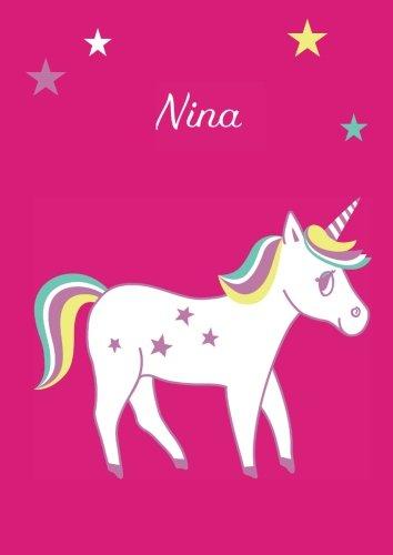 Nina: Einhorn Malbuch / Tagebuch / Notizbuch - DIN A4 - blanko